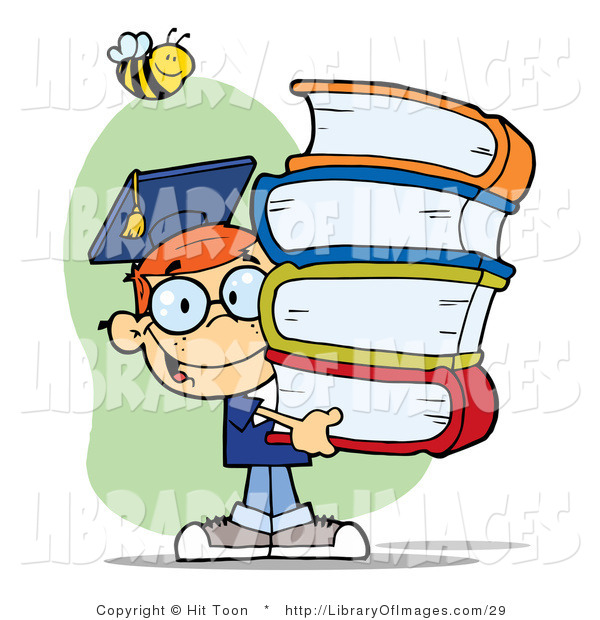 Clip Art of a Bee over a Happy Red Head Graduate School Boy Carrying a Stack of Textbooks