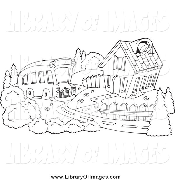 Clip Art of a Black and White Bus Pulling up to a School House