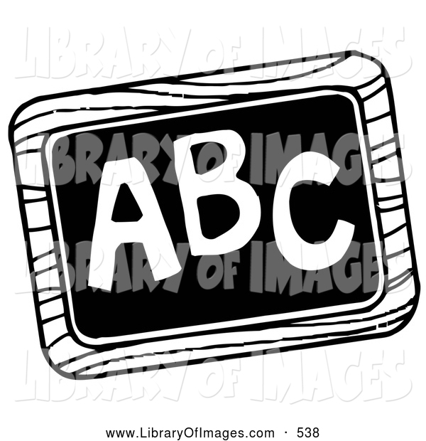 Clip Art of a Black and White Chalk Board with ABC Written on It, on White