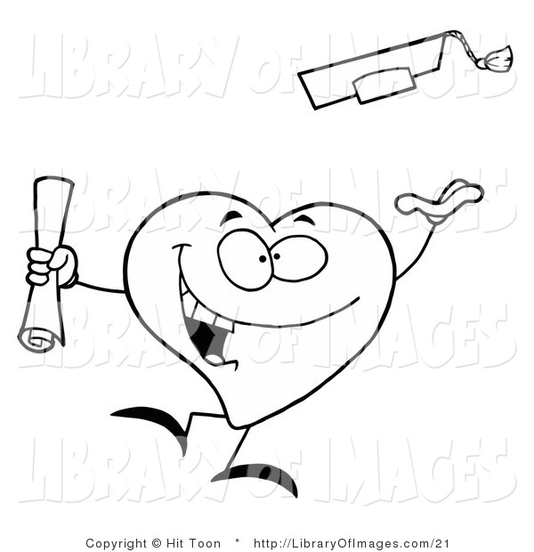 Clip Art of a Black and White Coloring Page Outline of a Heart Graduate Tossing His Cap into the Air