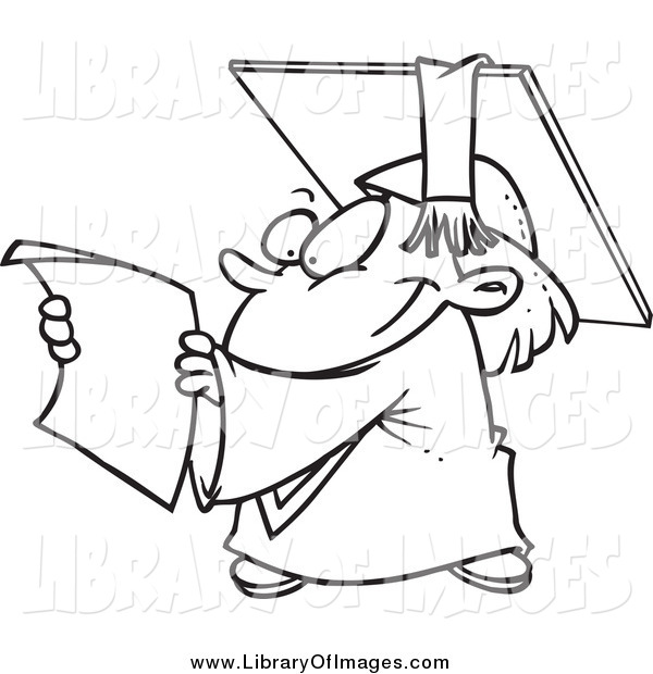 Clip Art of a Black and White Happy Graduate Kid Reading a Certificate