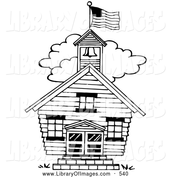 Clip Art of a Black and White One Room School House