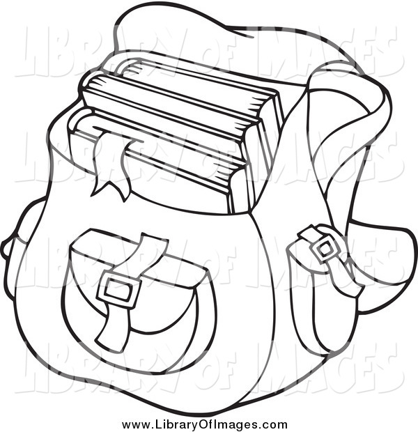 Clip Art of a Black and White School Bag