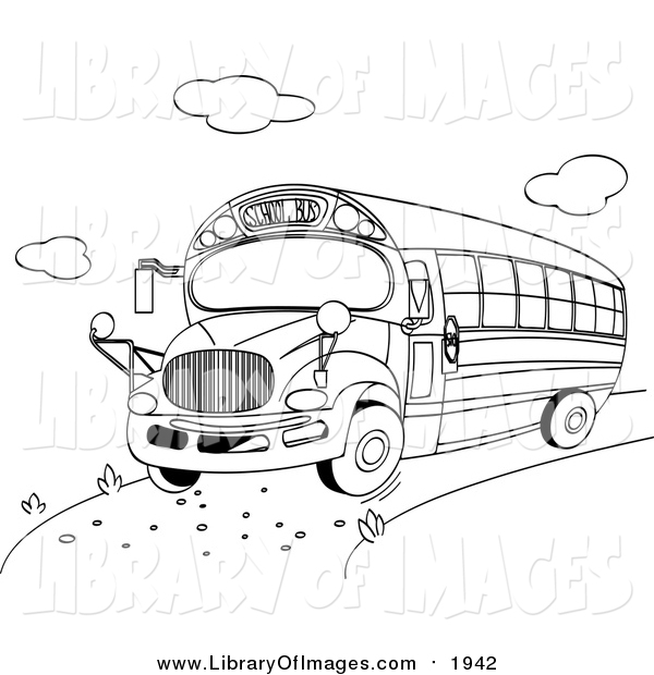Clip Art of a Black and White School Bus