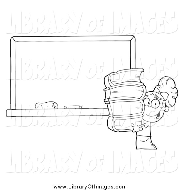 Clip Art of a Black and White School Girl Carrying Books by a Blank Chalk Board