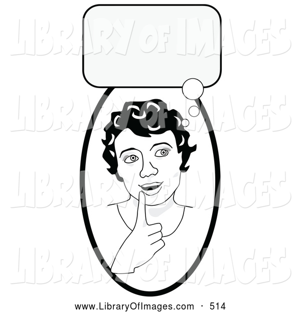Clip Art of a Black and White Smart Girl in Thought, Touching Her Lip, a Bubble Above Her Head