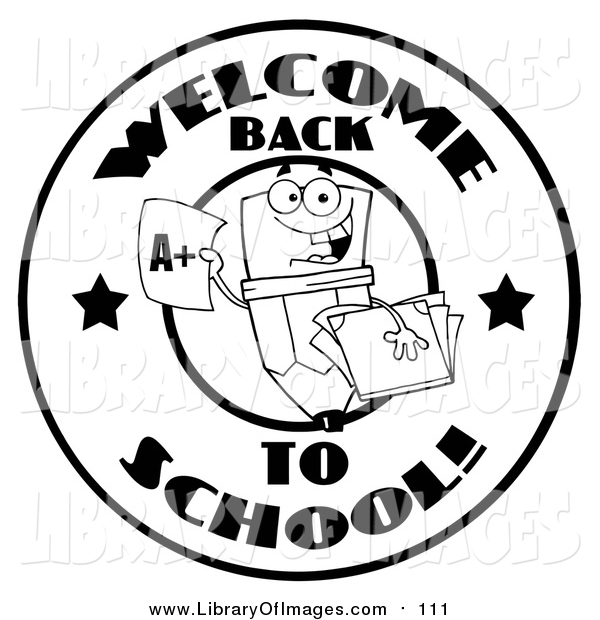 Clip Art of a Black and White Welcome Back to School Pencil Circle Design