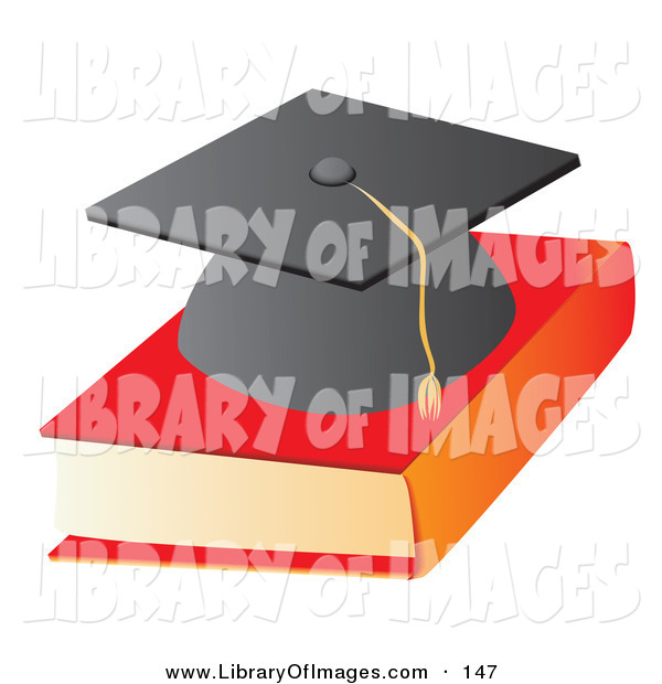 Clip Art of a Black Graduation Cap on Top of a Text Book School