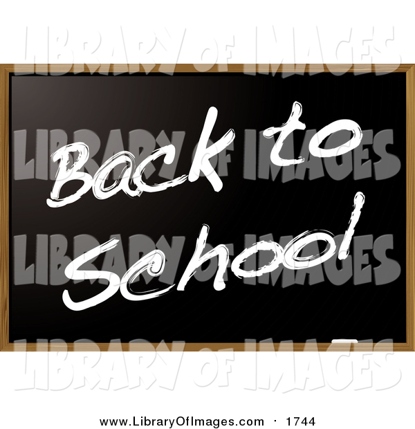 Clip Art of a Blackboard with Back to School Text