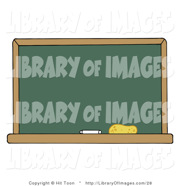 Clip Art of a Blank Green Classroom Chalkboard with White Chalk and an Eraser on the Bottom