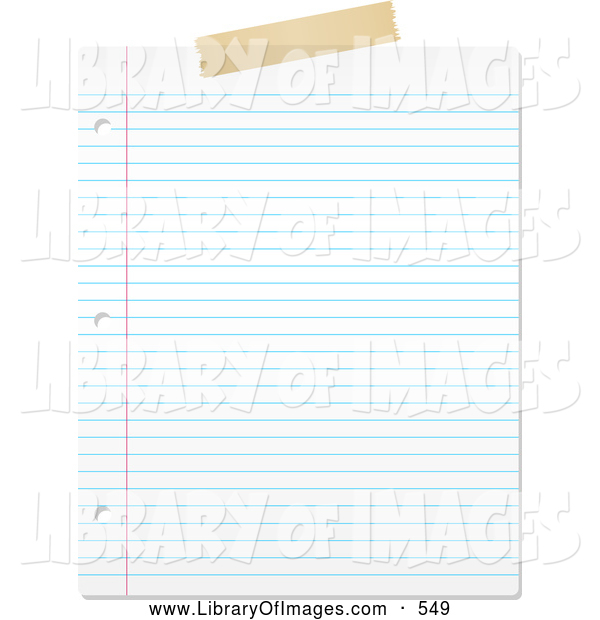 Clip Art of a Blank Lined Piece of Paper on White