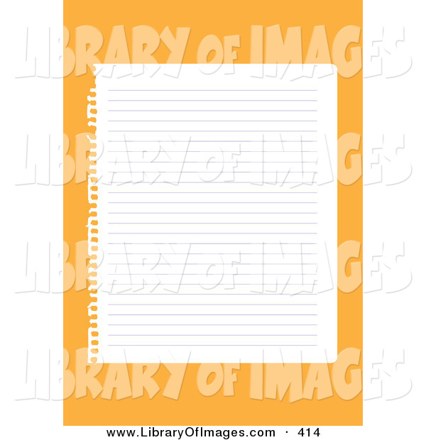 Clip Art of a Blank Lined Sheet of Paper Ripped out of a Ringed Notebook, over an Orange Background