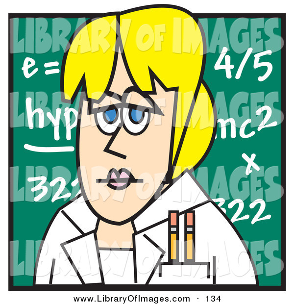 Clip Art of a Blond Caucasian Female Teacher Standing in Front of a Chalkboard in a Classroom