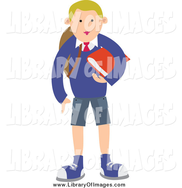 Clip Art of a Blond School Boy Standing with a Red Book