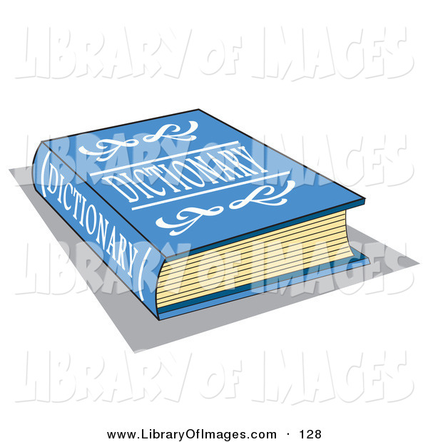 Clip Art of a Blue Dictionary Book with White Text on the Cover over White