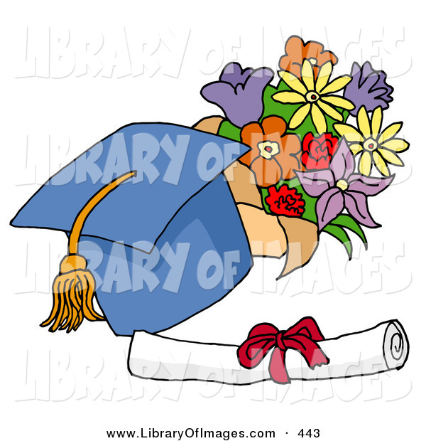 Clip Art of a Blue Graduation Cap with a Yellow Tassel, Resting by a Floral Bouquet and Diploma on Graduation Day