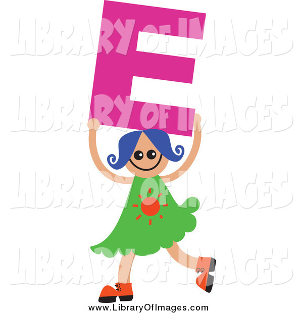 Clip Art of a Blue Haired White Girl Holding up a Letter E