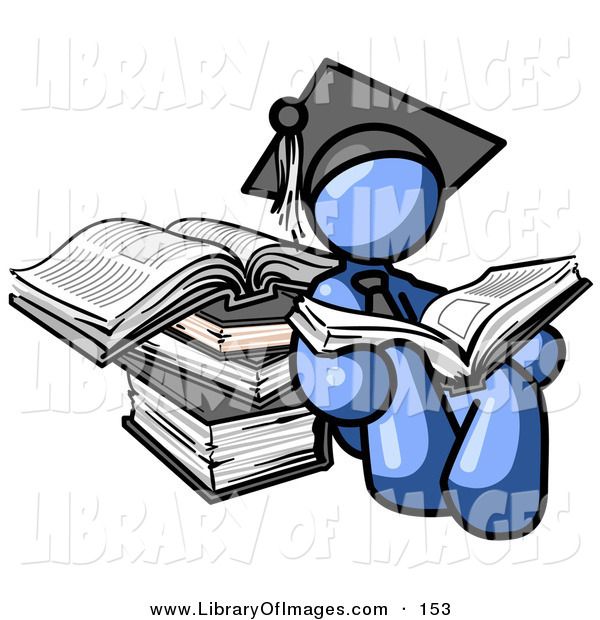 Clip Art of a Blue Male Student in a Tie and Graduation Cap, Reading a Book and Leaning Against a Stack of Books