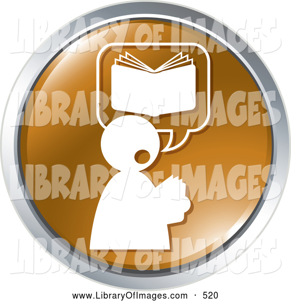 Clip Art of a Book on a Brown Website Icon Button