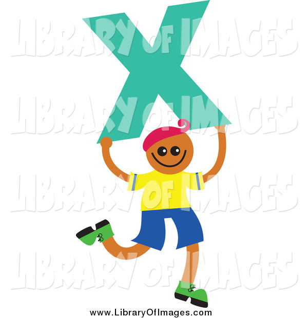 Clip Art of a Boy Kid Holding a Letter X