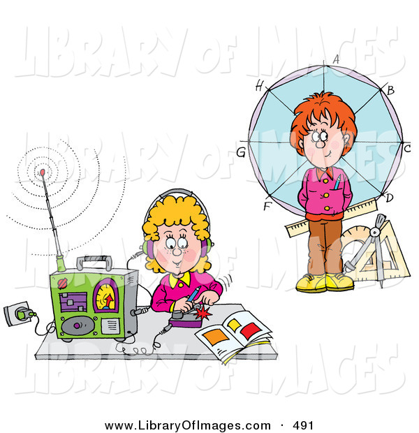 Clip Art of a Boy Standing in Front of a Circle and Girl Listening to a Radio, on White