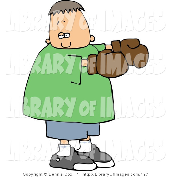 Clip Art of a Boy Wearing Brown Boxing Gloves