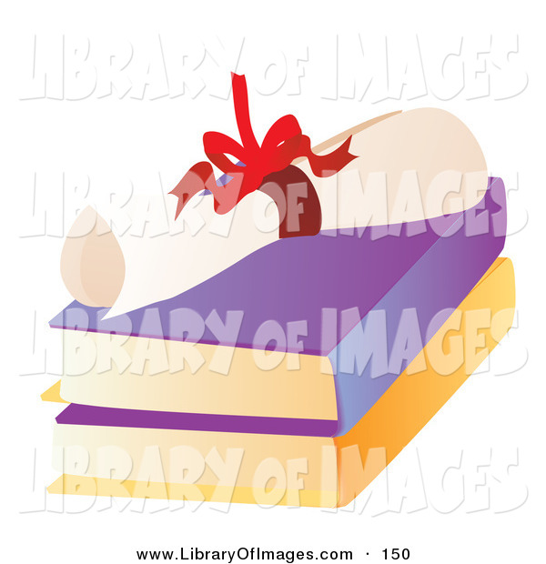 Clip Art of a Bright Red Ribbon Tied Around a High School Diploma on Top of Two Text Books