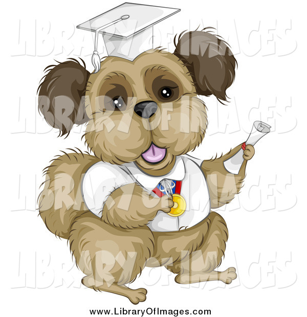 Clip Art of a Brown Terrier Dog Graduate in a White Cap and Gown