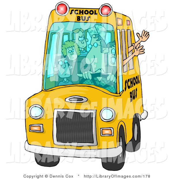 Clip Art of a Bus Driver Man Driving a School Bus Full of Young Students
