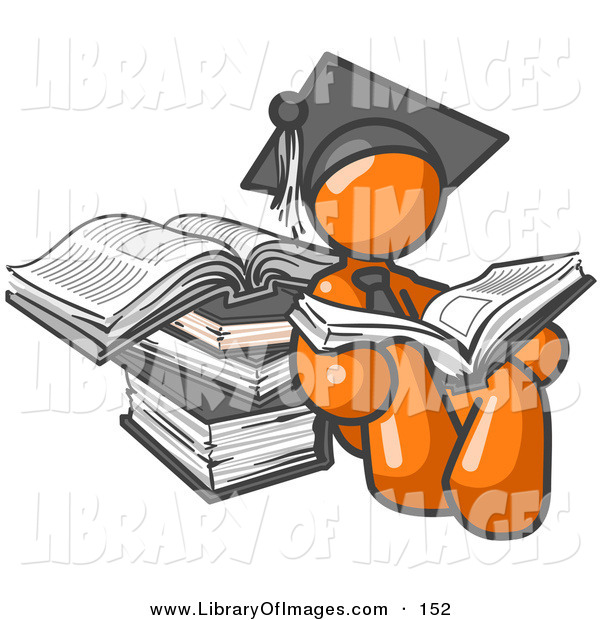 Clip Art of a Businessman Orange Male Student in a Graduation Cap, Reading a Book and Leaning Against a Stack of Books