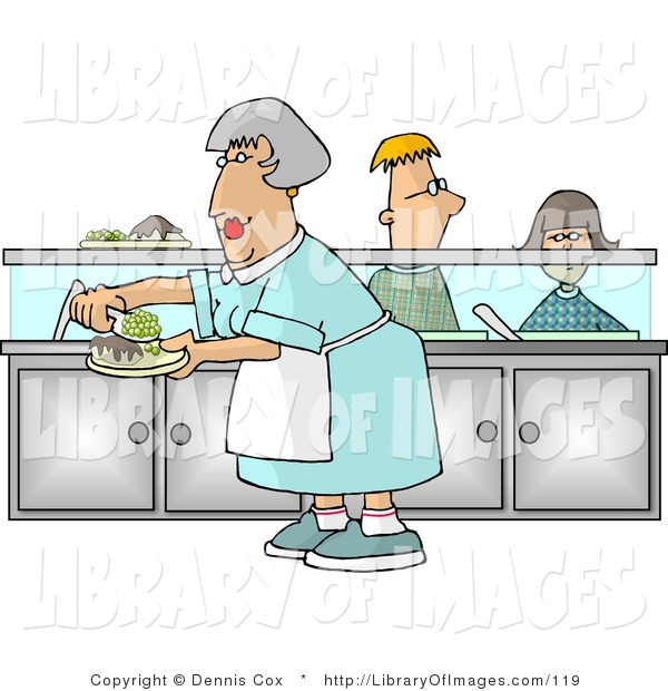 Clip Art of a Cafeteria Lady Putting Together Plates of Food for School Children Waiting in Line