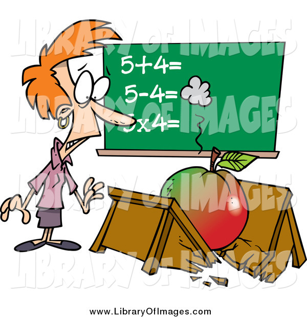 Clip Art of a Cartoon Big Apple Crushing a Red Haired White Female Teacher's Desk