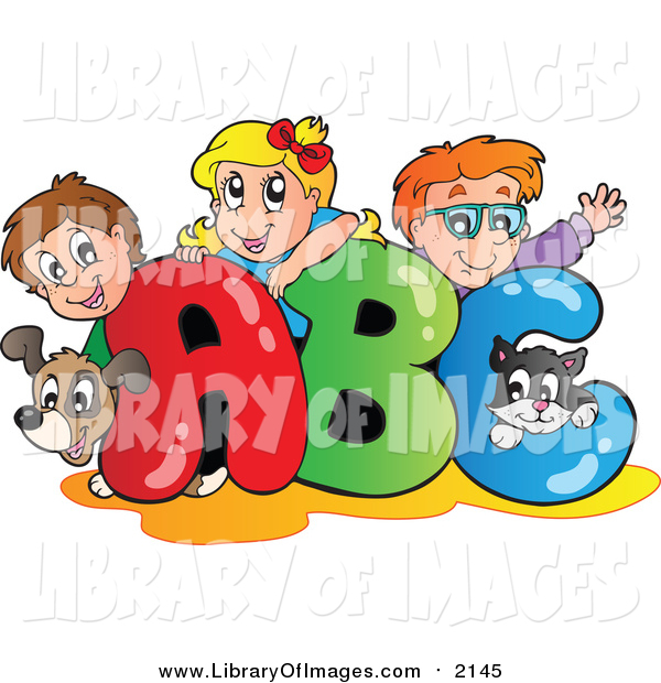 Clip Art of a Cartoon Dog Cat and Caucasian School Children on ABC