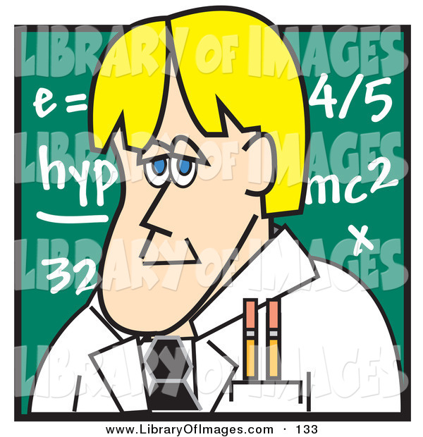 Clip Art of a Caucasian Blond Male Teacher Standing in Front of a Chalkboard in a School Classroom