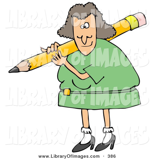 Clip Art of a Caucasian Female Teacher in a Green Dress, Carrying a Giant Yellow Pencil on Her Shoulder, Grading Student Papers
