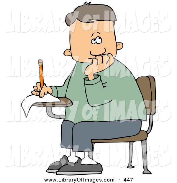 Clip Art of a Caucasian Nervous School Boy Seated at His Desk, Trying to Think of the Right Answers for His Test