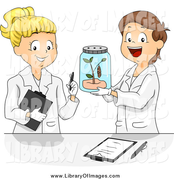Clip Art of a Caucasian SChool Children Studying a Butterfly in a Science Lab