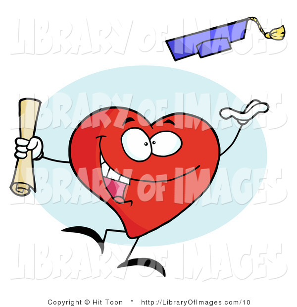 Clip Art of a Celebrating Graduate Red Heart Character Holding a Diploma and Tossing His Cap