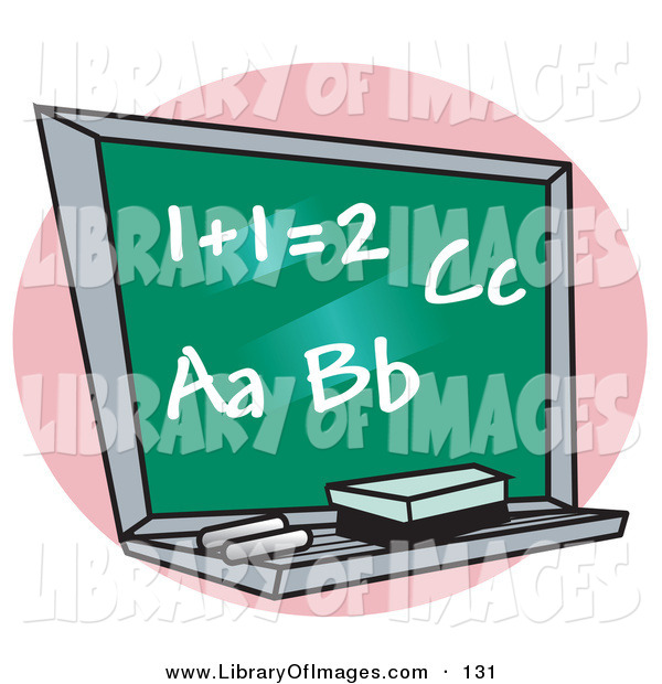 Clip Art of a Chalkboard with Letter of the Alphabet and Addition Written on It in a Math School Classroom