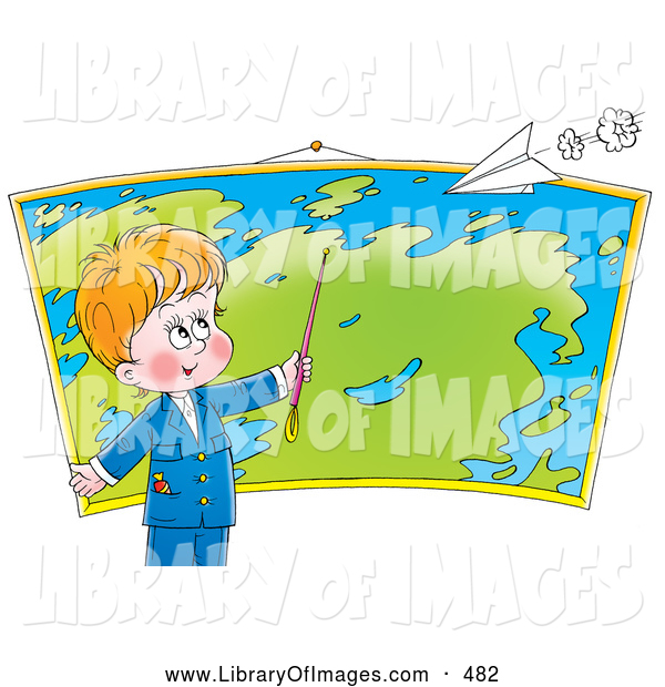 Clip Art of a Cheerful Smart Little Boy Pointing to a Location on a Map in Geography Class, a Paper Airplane Flying Above