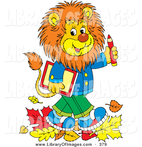 Clip Art of a Cheerful Smart Young Male Lion Wearing Clothes, Walking Through Fallen Leaves and Carrying a Book and Pencil to School