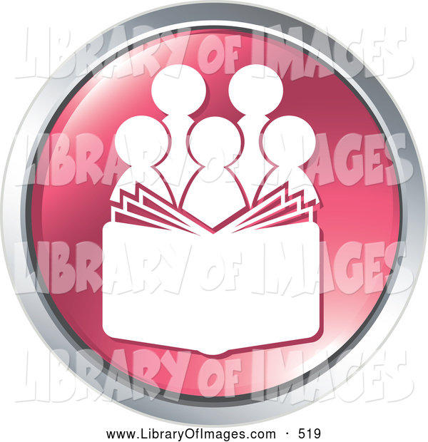 Clip Art of a Choir with a Music Book or People Reading a Bible on a Pink Coin Shaped Website Button