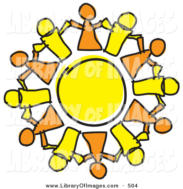 Clip Art of a Circle of Orange and Yellow Guys Holding Hands, Symbolizing Teamwork and Support