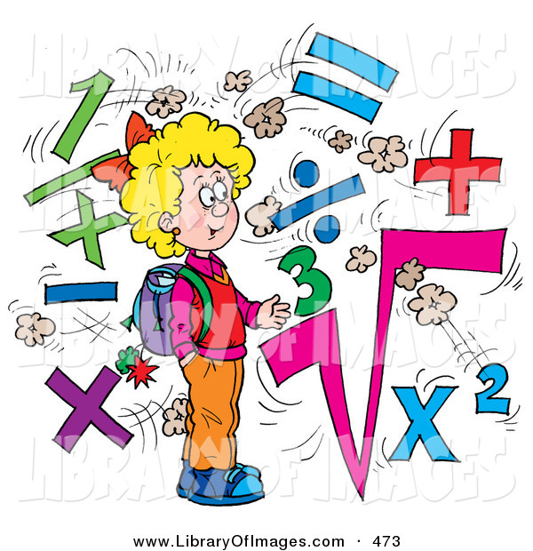 Clip Art of a Clever School Girl Surrounded by Math Symbols