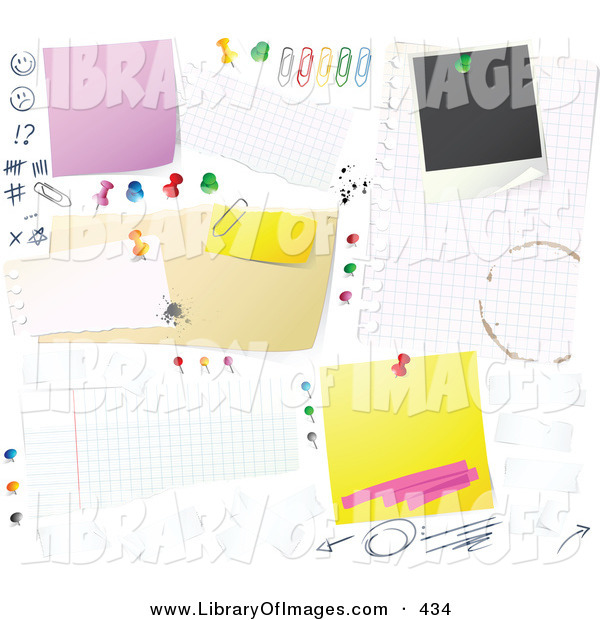 Clip Art of a Cluttered White Bulletin Board Background with Tally Marks, Faces, Push Pins, Thumb Tacks, Blank Messages and Sticky Notes Pinned up