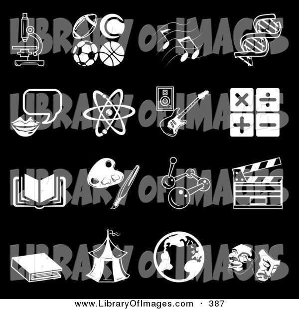 Clip Art of a Collection of 16 Black and White School Subject Icons on a Black Background