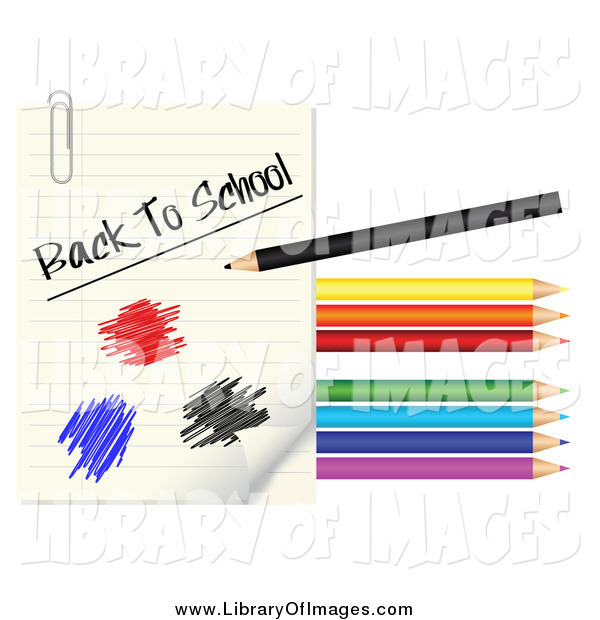 Clip Art of a Colored Pencils, Scribbles and Back to School Paper
