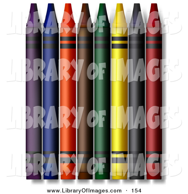 Clip Art of a Colorful Crayons on White