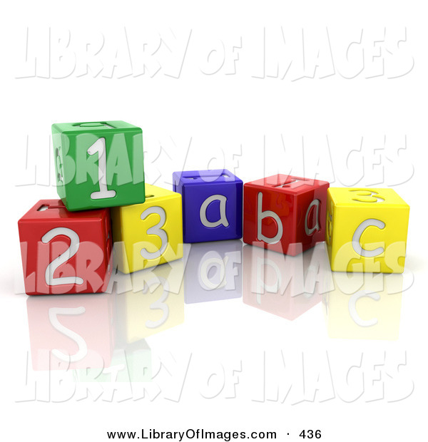 Clip Art of a Colorful Number and Alphabet Toy Blocks Resting on a Reflective White Surface