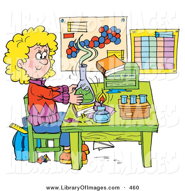 Clip Art of a Colorful Picture of a School Girl Conducting a Science Experiment in a Lab